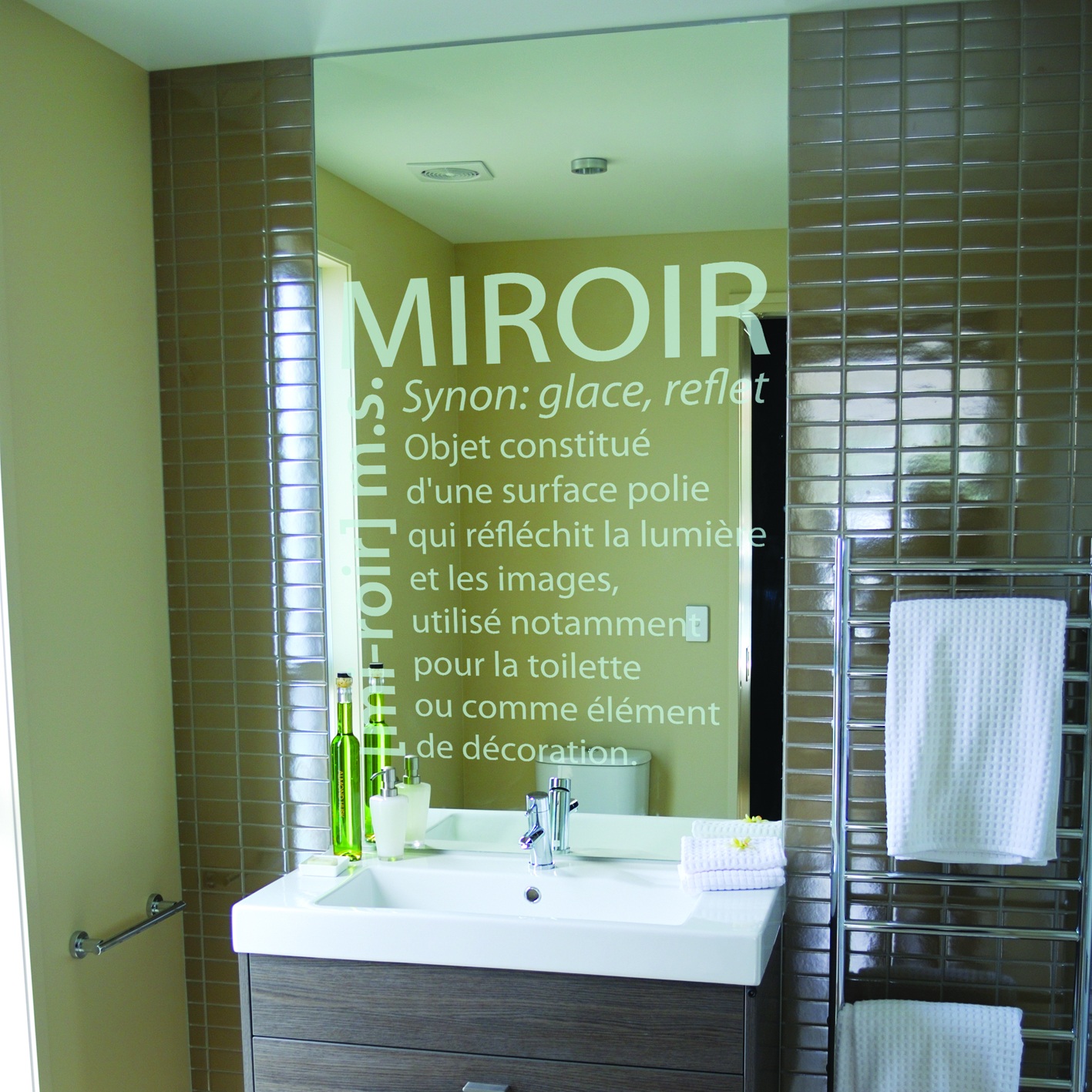 Stickers d finition miroir sdb sti0044 tableau design for Miroir definition