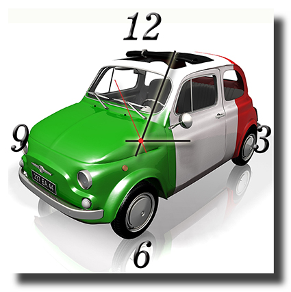 Tableau horloge fiat 500 tah0005 tableaux d co for Decoration murale fiat 500