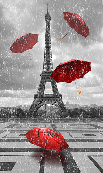 tableau tour eiffel 4 parapluie rouge pa00017 tableaux d co personnalis s contemporain toiles. Black Bedroom Furniture Sets. Home Design Ideas